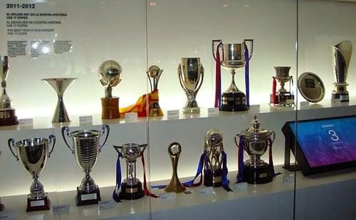 Troféus do Barça no Museu FC Barcelona