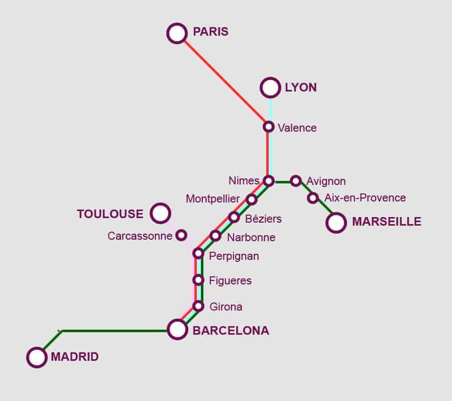 Mapa da viagem de trem de Barcelona a Marselha