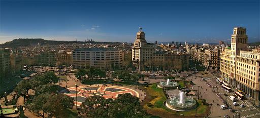 Vista da Plaça de Catalunya em Barcelona