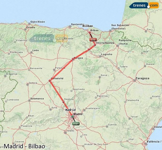 Mapa trem de Madri a Bilbao