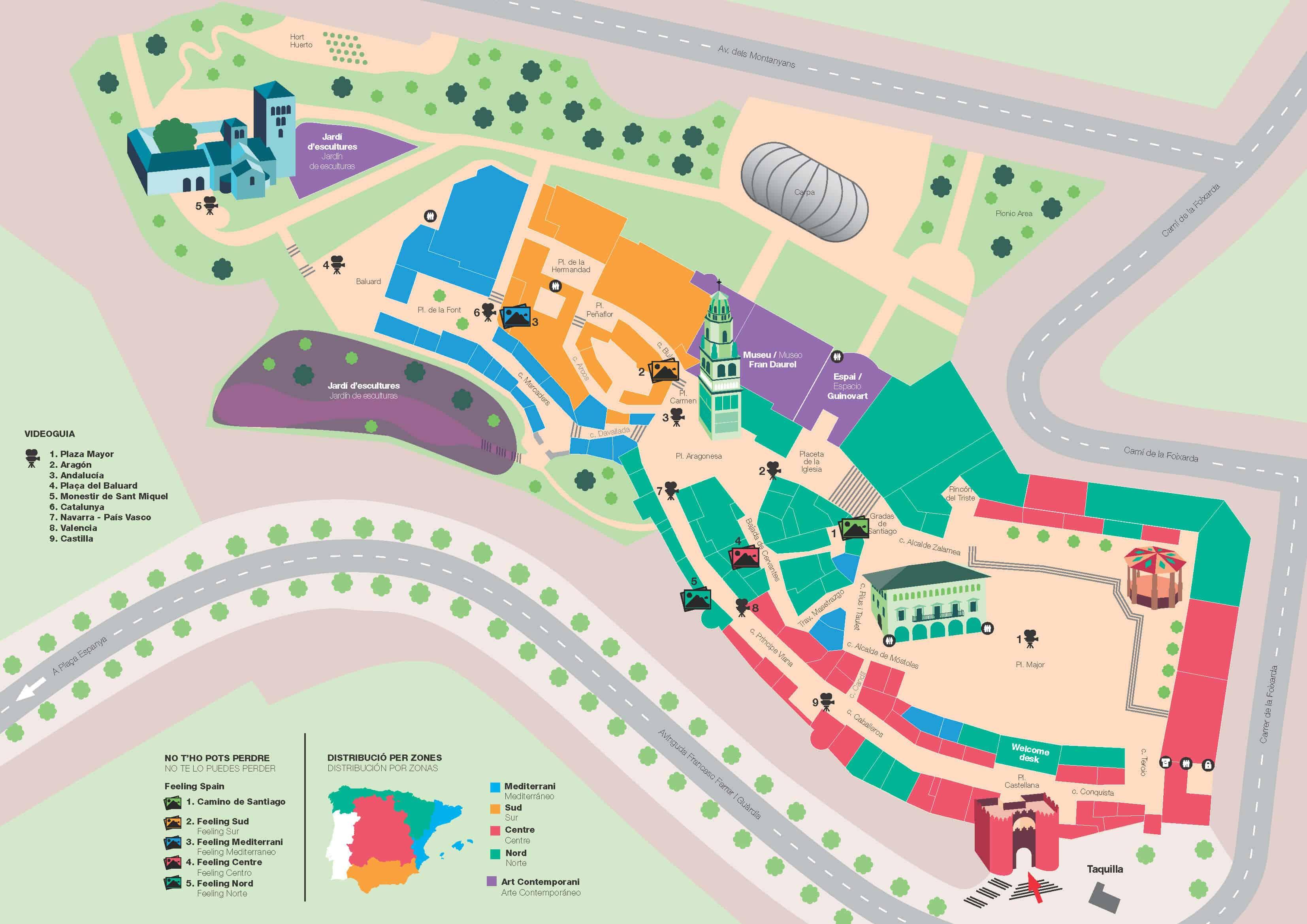Mapa do recinto do Poble Espanyol em Barcelona